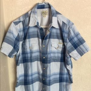 Lucky Western Blue Plaid Snap Button Casual Shirt